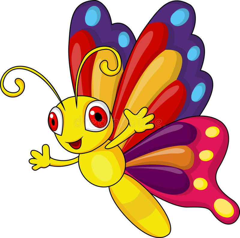 Funny butterfly cartoon vector illustration