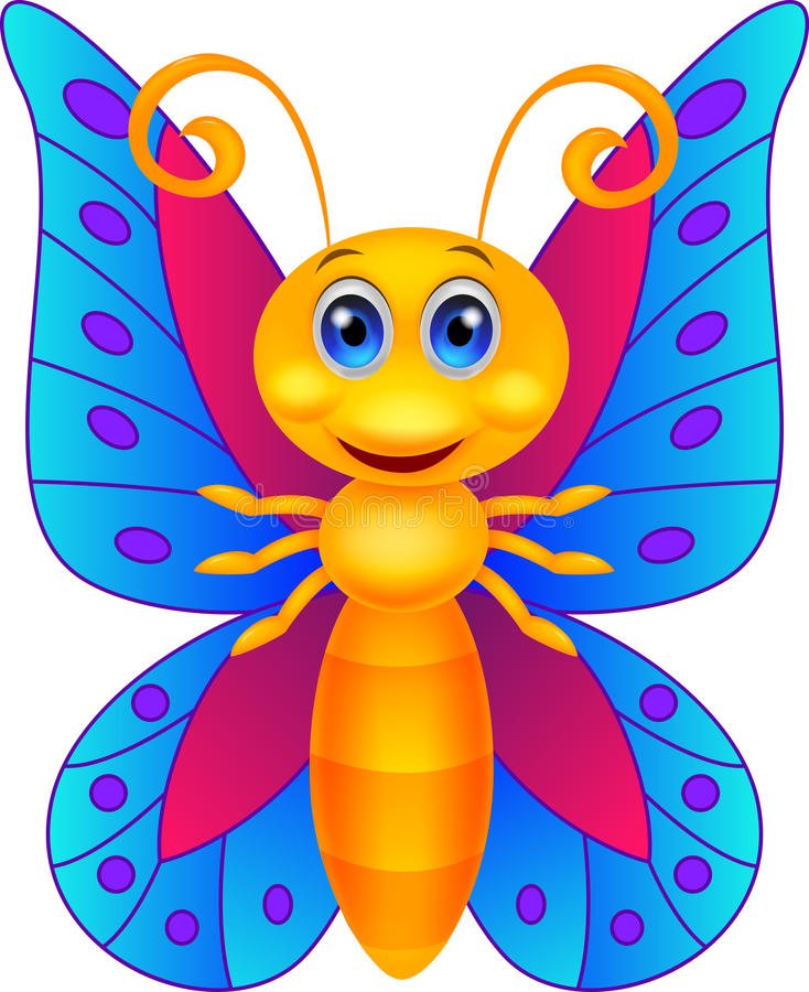 Funny butterfly cartoon royalty free illustration