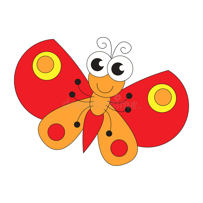 Funny butterfly cartoon. Page to be colored. royalty free illustration
