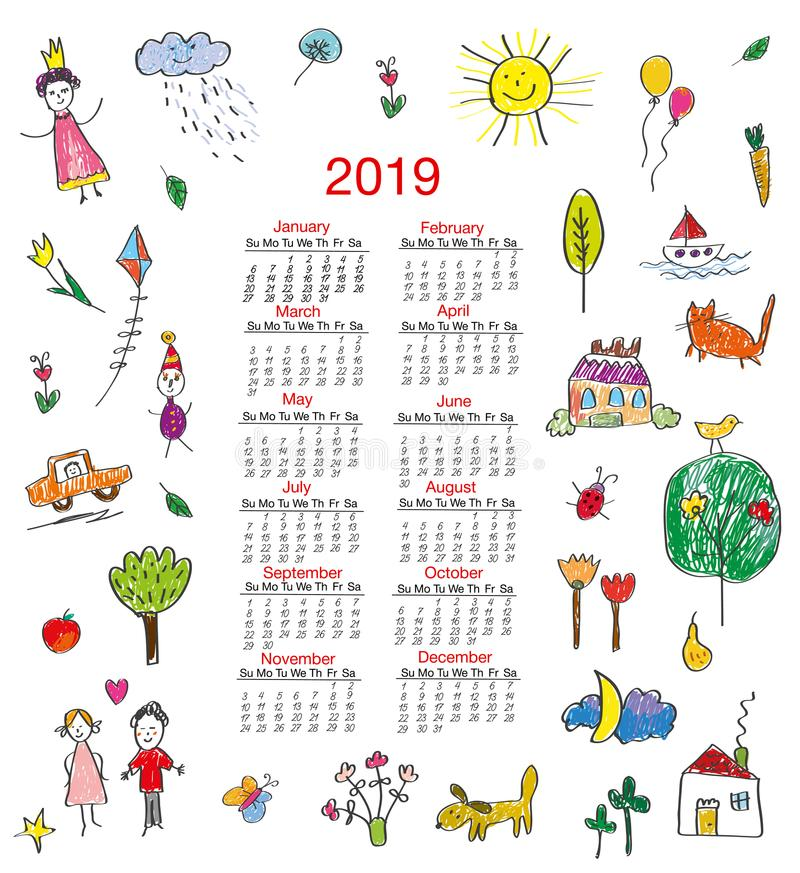 Funny calendar 2019 with kids drawings for children. Vector illustration vector illustration