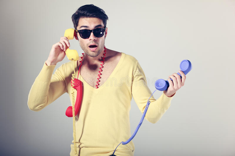 Download Funny Call Center Men With Colorful Phones Stock Image - Image of helpdesk, business: 26607237