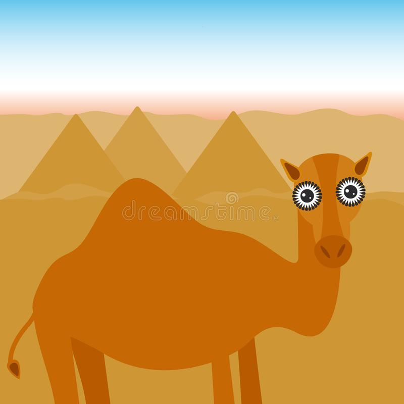 Funny Pictures About Egypt: Funny Camel In The Desert Stock Vector. Illustration Of