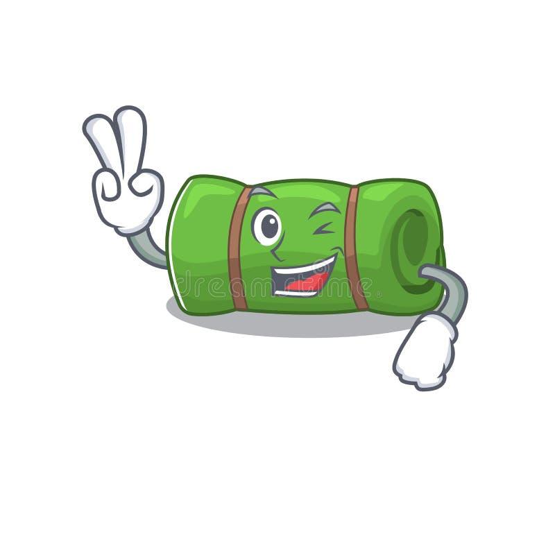 Funny camping mat Scroll cartoon Character met twee vingers vector illustratie