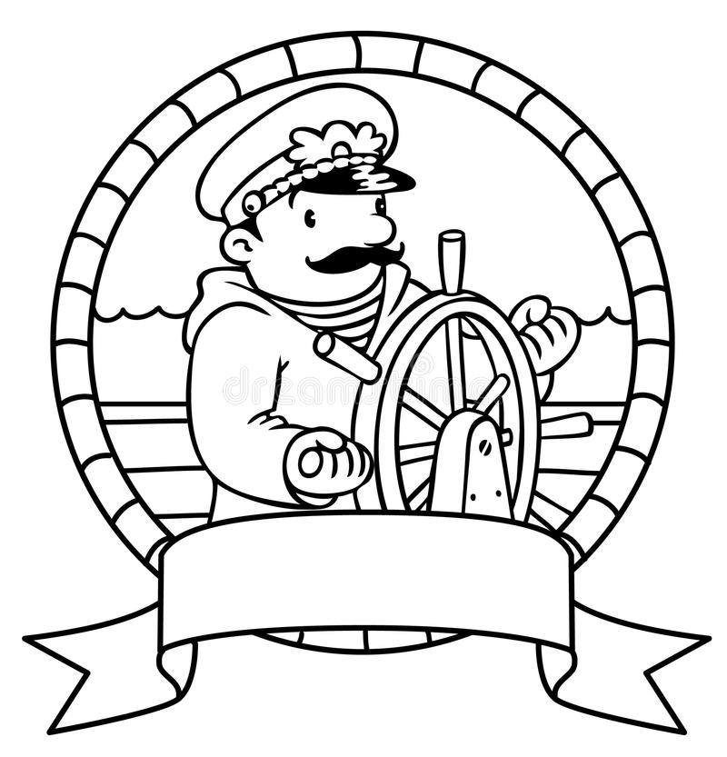 funny captain or yachtman  coloring book  emblem stock