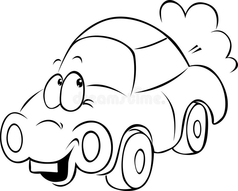 Funny Car Cartoon Black Outline Stock Vector Illustration of