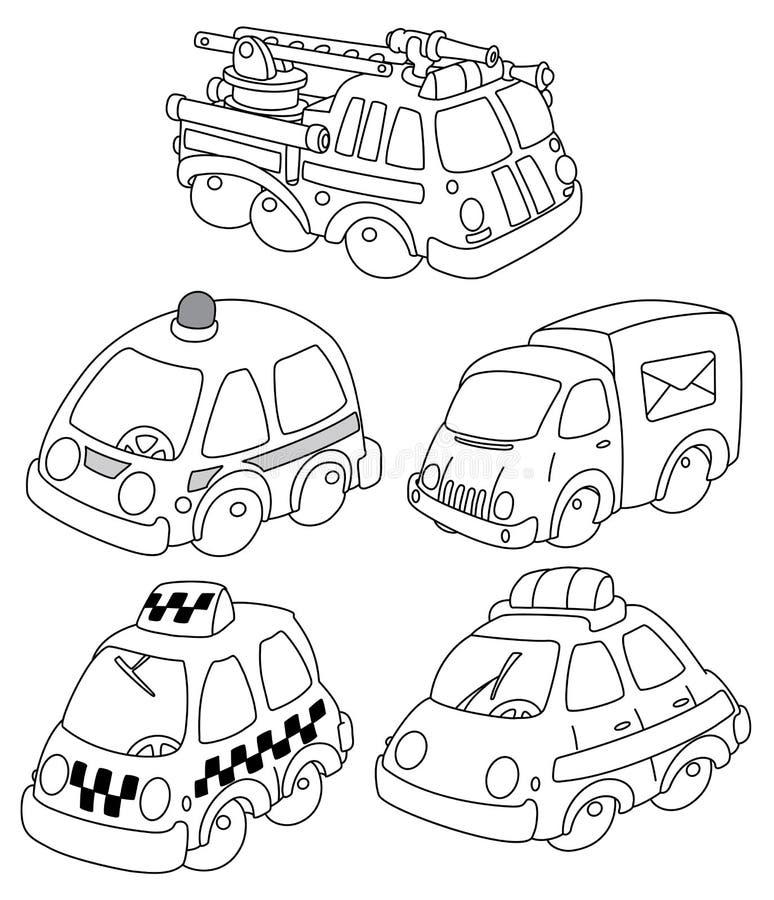 Funny car outlined vector illustration