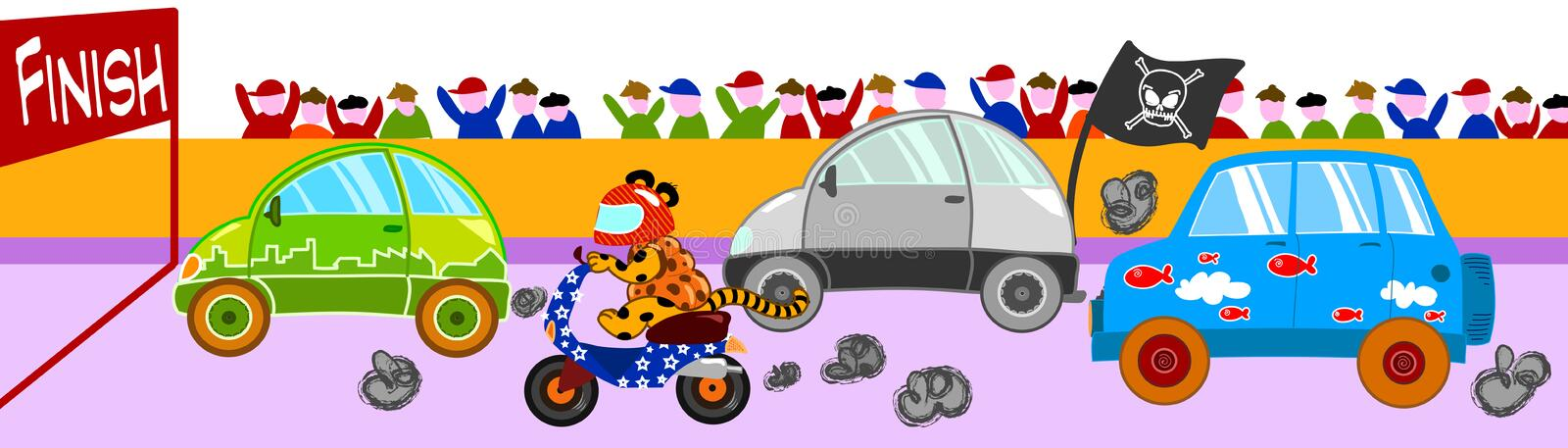 Funny car race. A funny car race with all sort of vehicles. Vectorial illustration