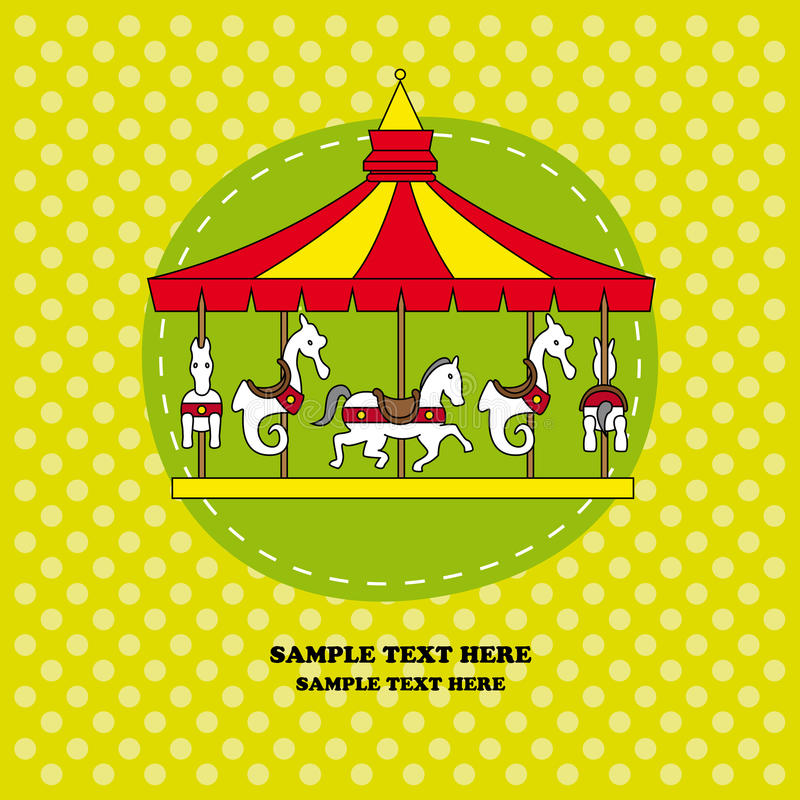 Download Funny card with a carousel stock vector. Image of horses - 23836696