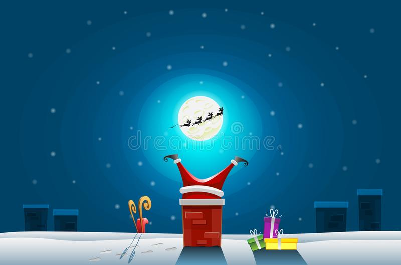 Funny card - Merry Christmas and Happy New Year, Santa claus stuck in the Chimney on roof.  stock illustration