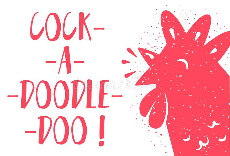 Funny card with red rooster and lettering text Cock-a-doodle-doo on white background. Vector illustration stock illustration