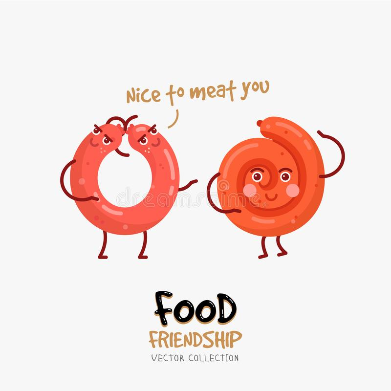 Funny card with sausages friendship . Fast food illustration. Friends forever. Italian salami and sausage print. Friend food card for Valentine`s Day. Vector royalty free illustration