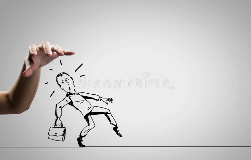 Funny caricature. Close up of human hand catching running away businessman vector illustration