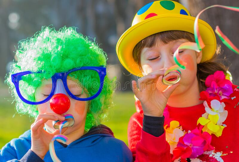carnival kids smiling and playing outdoor royalty free stock image