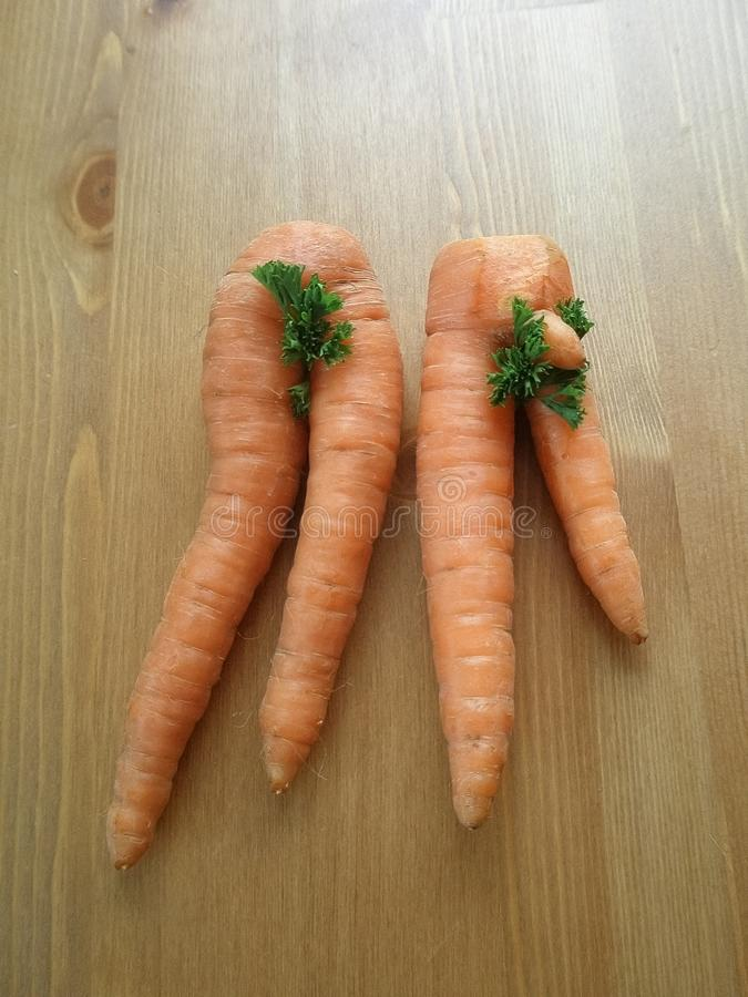 Funny Carrots on the table. Funny shapes royalty free stock photo