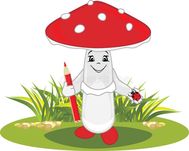 Funny cartoon amanita with a red pencil and a ladybird in his hands royalty free stock photography