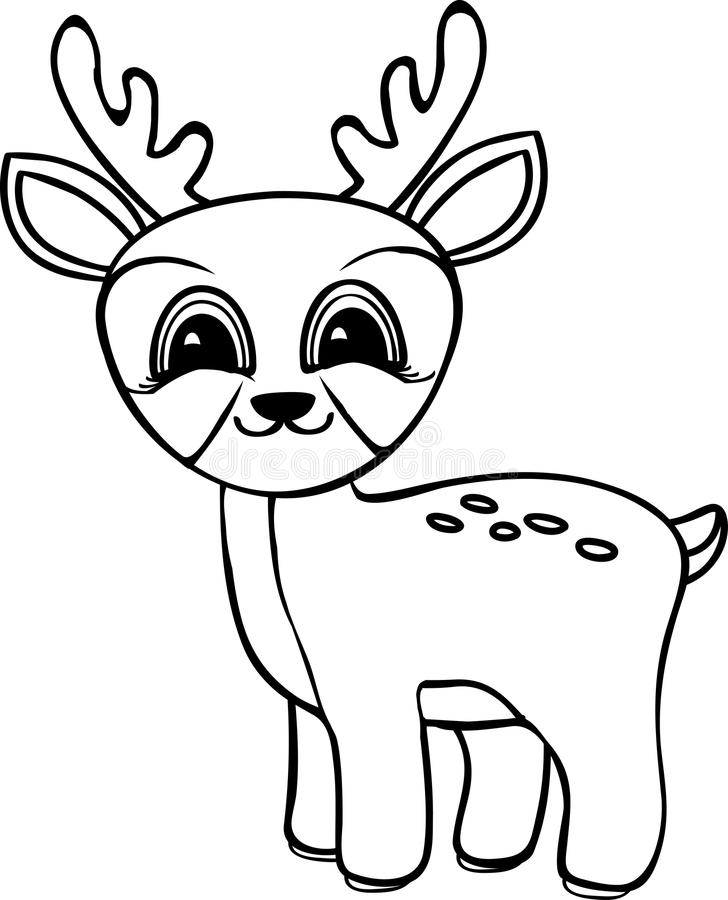 Funny cartoon baby deer stock illustration. Illustration of animal ...