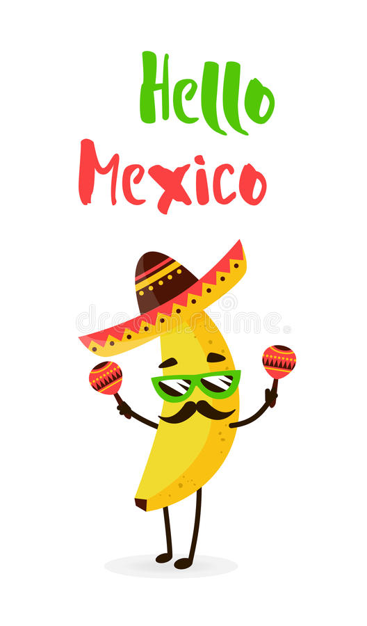 Funny cartoon banana in a Mexican hat and mustache. Hola amigo. Summer card. Flat style. Vector illustration stock illustration