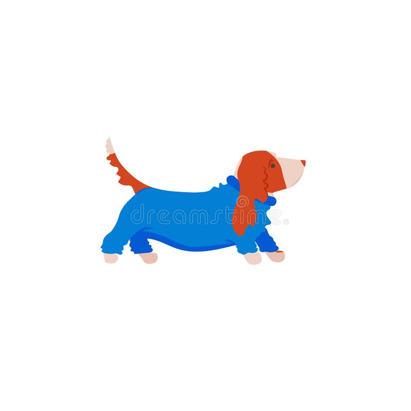 Funny cartoon basset hound in overalls. Cute family dog. Vector illustration stock illustration