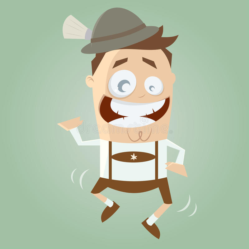 Funny Cartoon Bavarian Is Dancing Traditional Royalty Free Stock Image