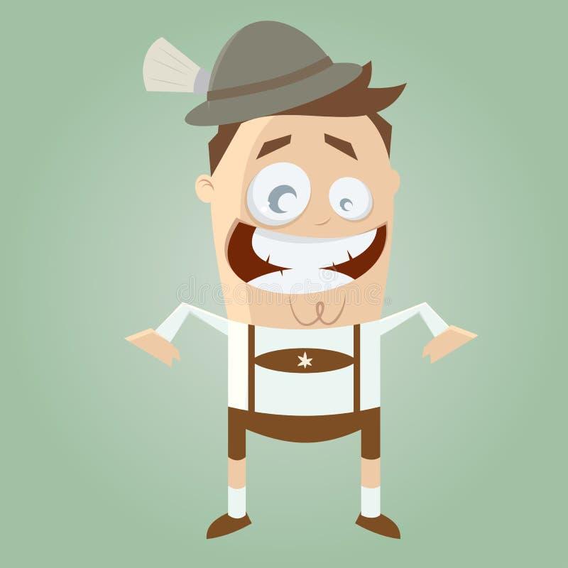 Funny cartoon bavarian man. Illustration of a funny cartoon bavarian man royalty free illustration