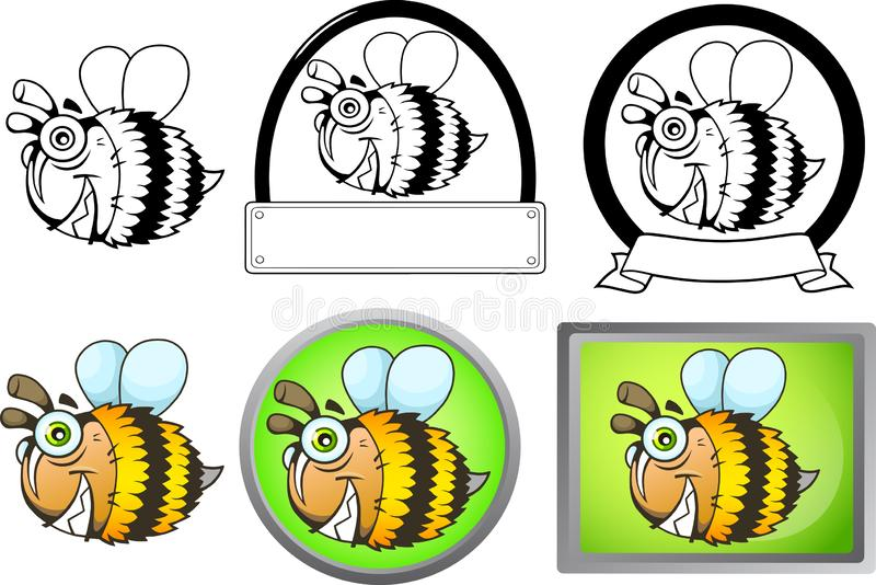 Funny cartoon bee flying funny illustration set of images. Cute funny cartoon bee flying funny illustration set of images stock illustration
