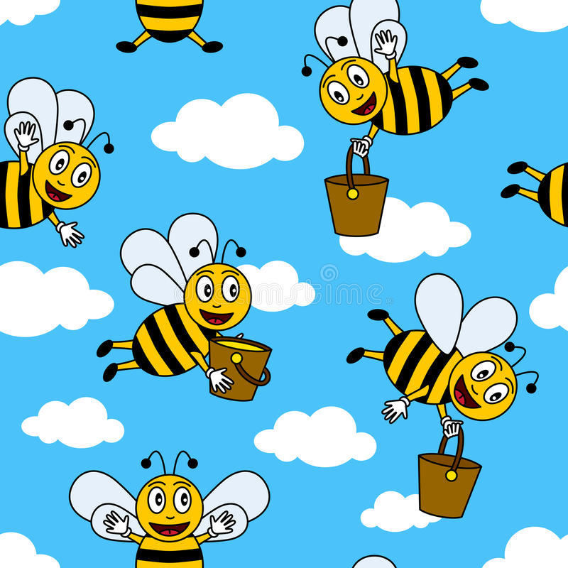 Funny Cartoon Bees Seamless Pattern