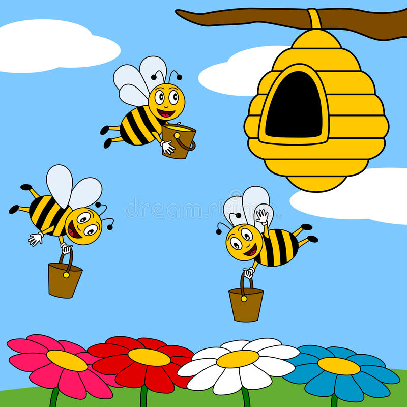 Funny Cartoon Bees Working stock illustration