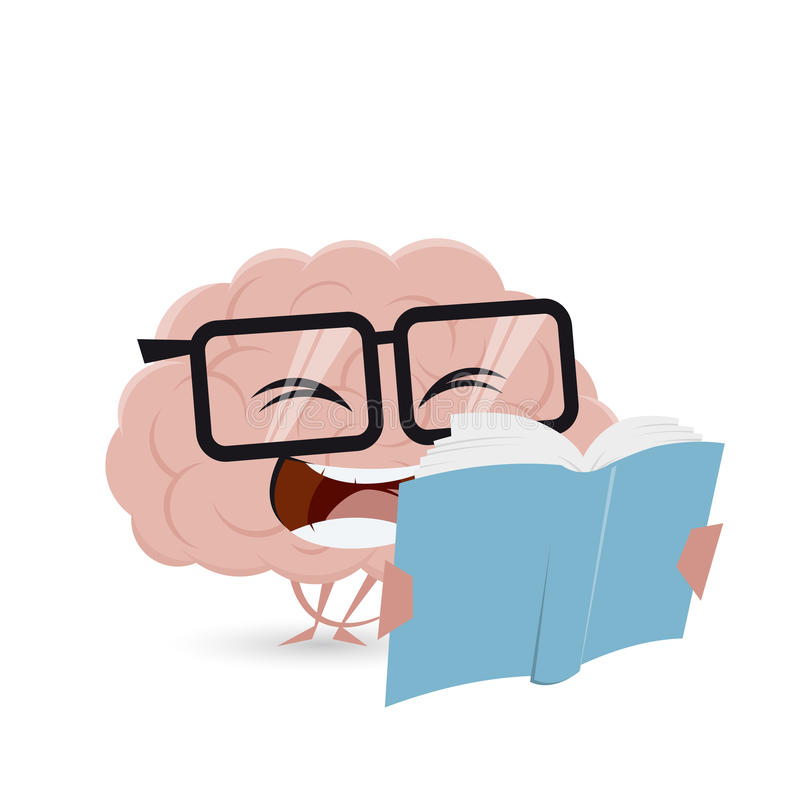 Funny cartoon brain reading a book vector illustration