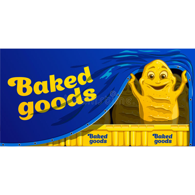 Funny cartoon bread. Vector food character. stock photos