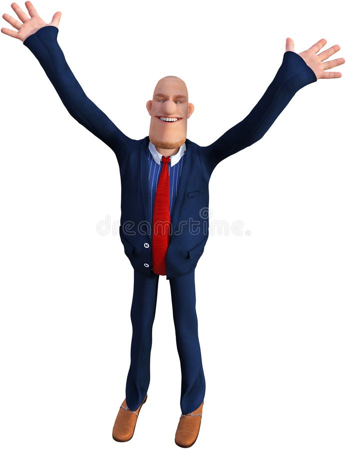 Funny Cartoon Business Man, Success, Isolated, Business royalty free illustration