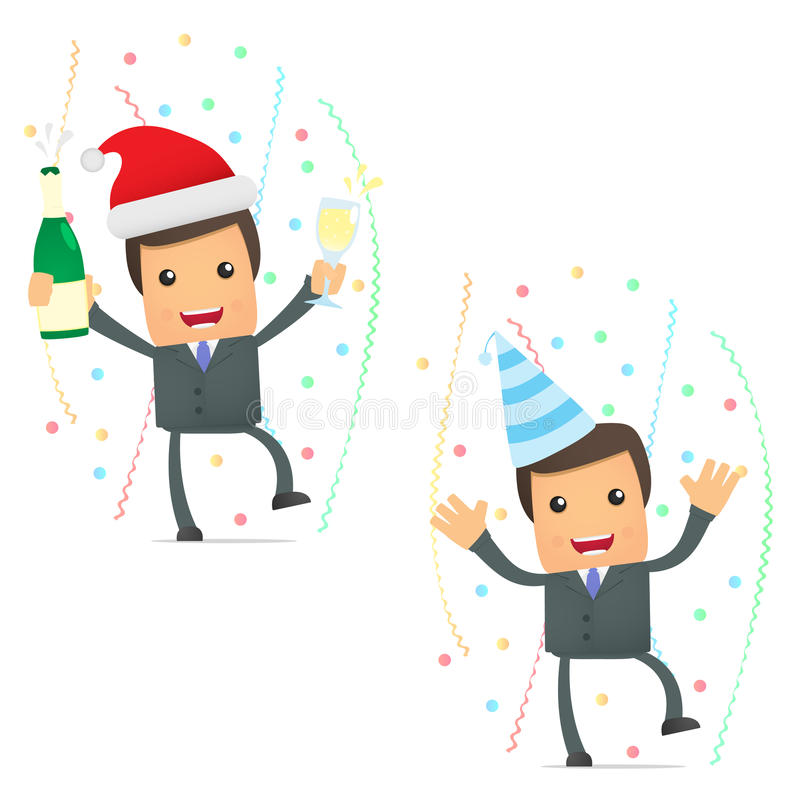 Download Funny Cartoon Businessman Celebrating The Holiday Stock Vector - Illustration: 20591082