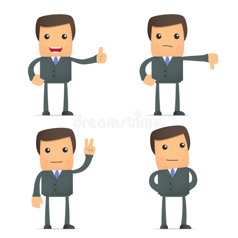 Free Funny Cartoon Businessman Hold Thumb Up And Down Stock Image - 20590521