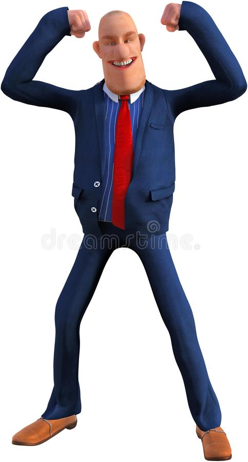 Funny Cartoon Businessman, Muscles, Isolated, Success, Goals royalty free stock images