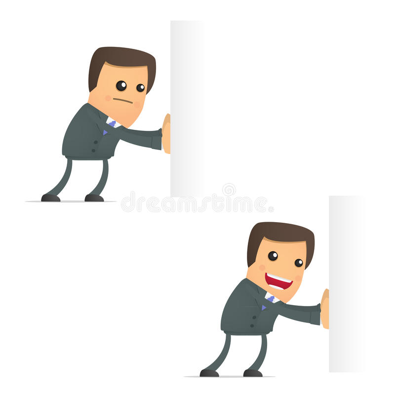 Download Funny Cartoon Businessman Pushes An Empty Block Stock Vector - Illustration of collar, direction: 20590591