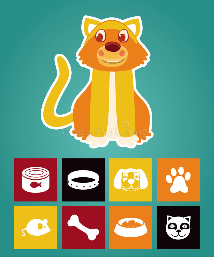 Download Funny Cartoon Cat And  Icons Stock Illustration - Image: 25575713