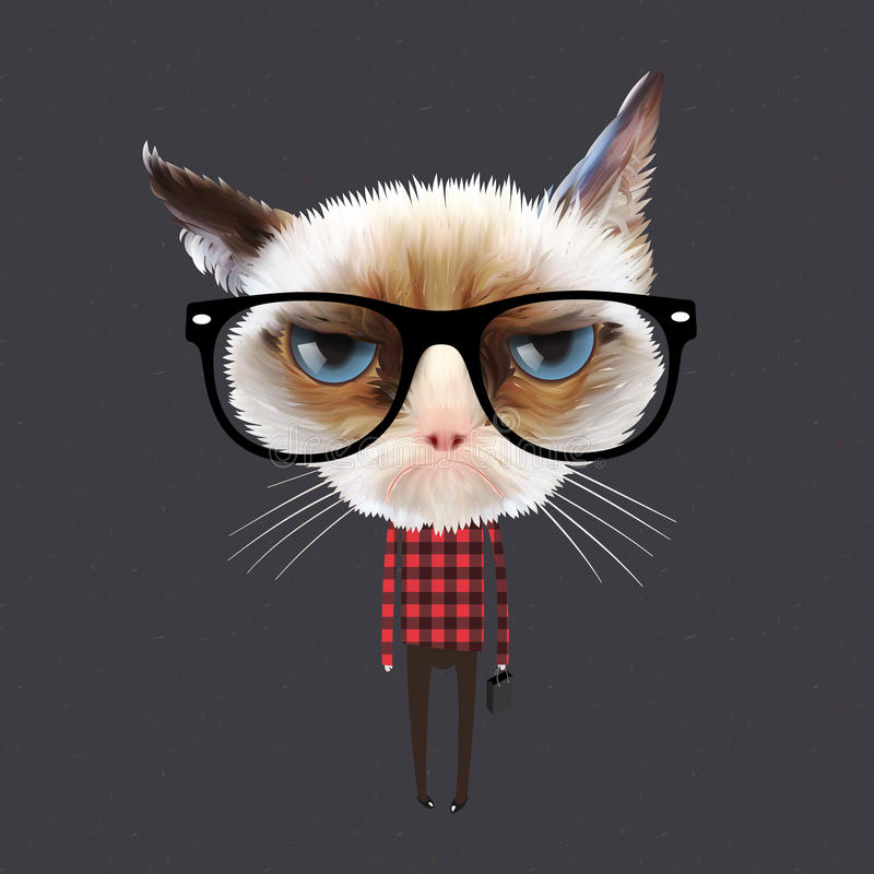 Funny cartoon cat vector illustration