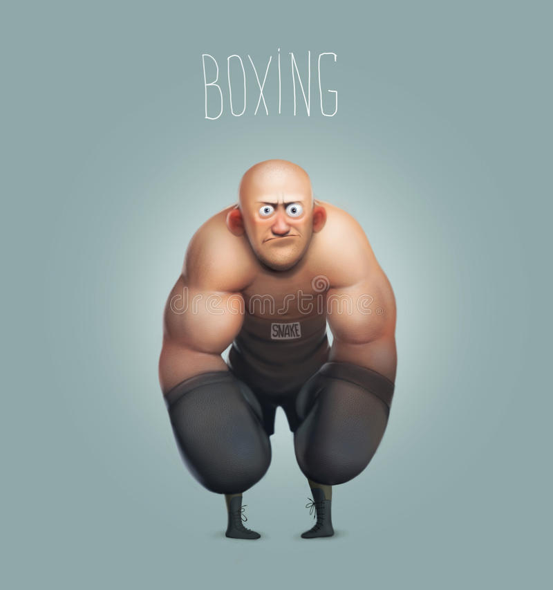 Funny cartoon character, boxer, boxing champion royalty free illustration