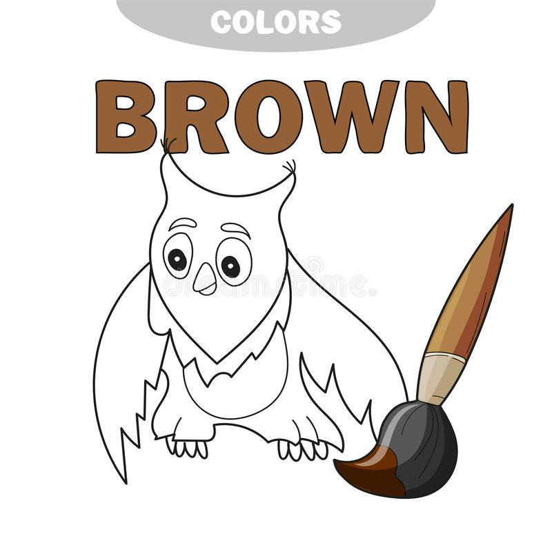 Funny cartoon character owl. Vector isolated coloring book. Contour on a white vector illustration