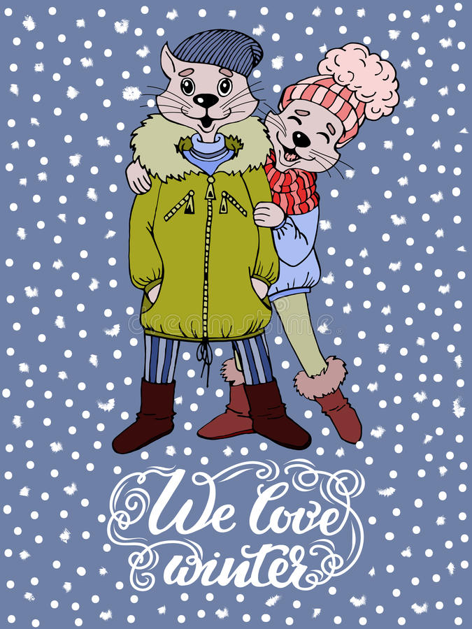 Funny cartoon characters cat boy and cat-girl in jackets and hats. We love winter greeting card design royalty free illustration