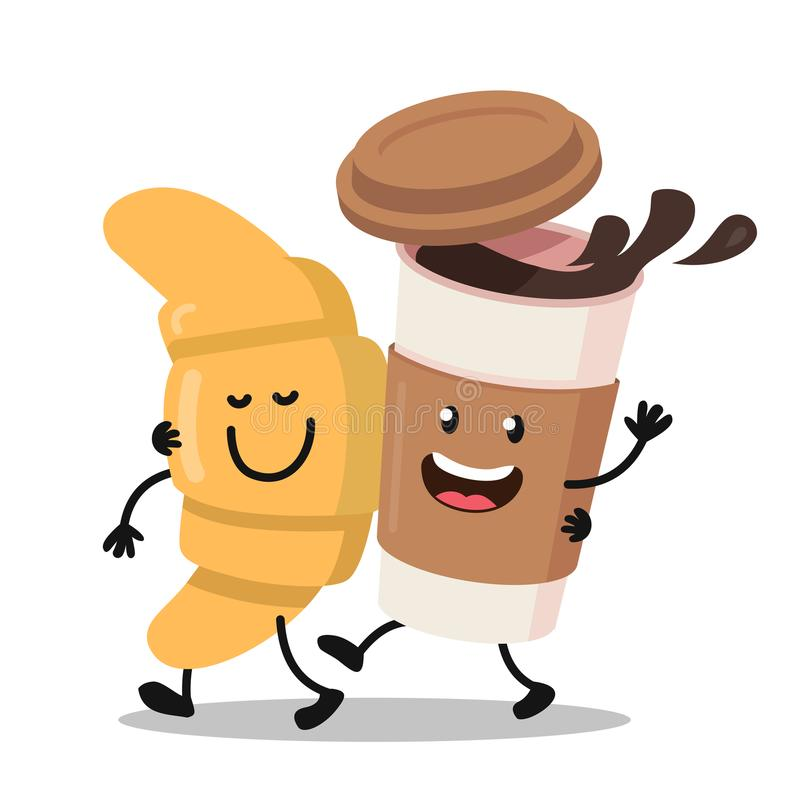 Funny cartoon characters coffee and croissant. royalty free illustration