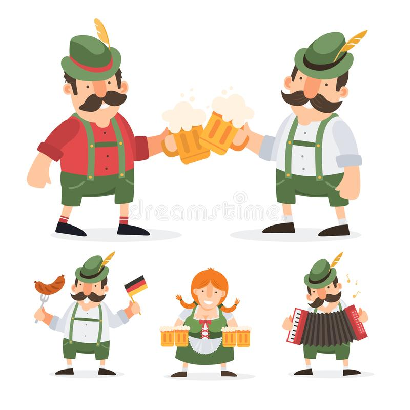 Funny cartoon characters in folk costumes of Bavaria celebrate and have fun at Oktoberfest beer festival. stock illustration