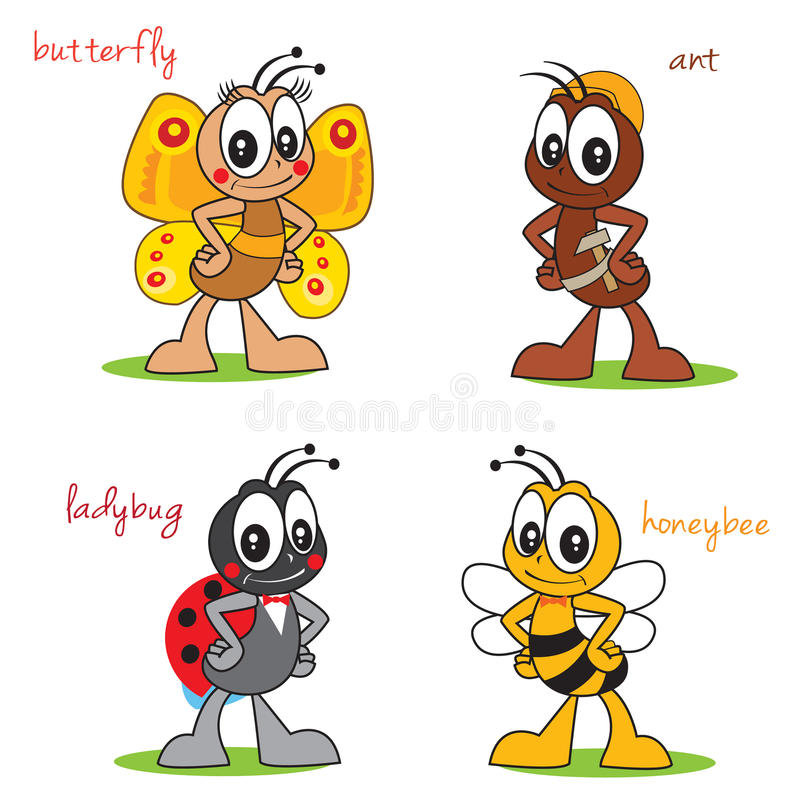 Funny Cartoon Characters Insects. Beautiful Butterfly. Ant Build. Cute Ladybug. Sweet Bee. royalty free illustration