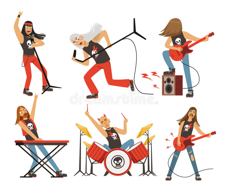 Funny cartoon characters in rock band. Musician in famous pop group. Vector mascot set royalty free illustration