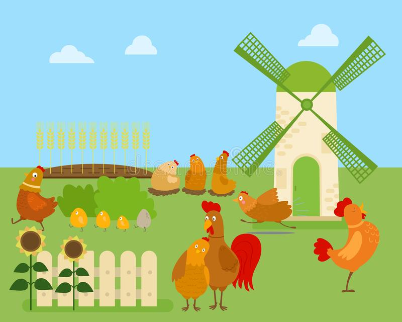 Funny cartoon chicken, hen and rooster in various poses, vector illustration with green rural background and windmill royalty free illustration