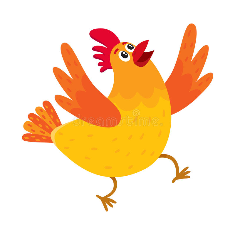 Funny cartoon chicken, hen surprised or jumping from happiness vector illustration