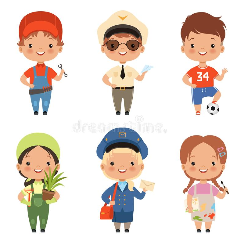 Funny cartoon children characters of various professions vector illustration