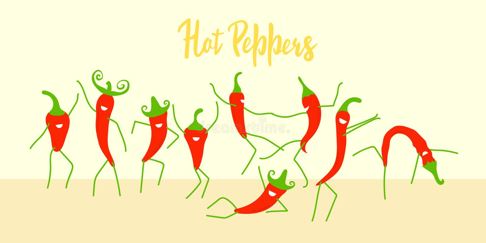 Funny cartoon chili peppers dancing. Modern flat design. Positive characters are suitable for festivals, hot parties, posters and royalty free stock image