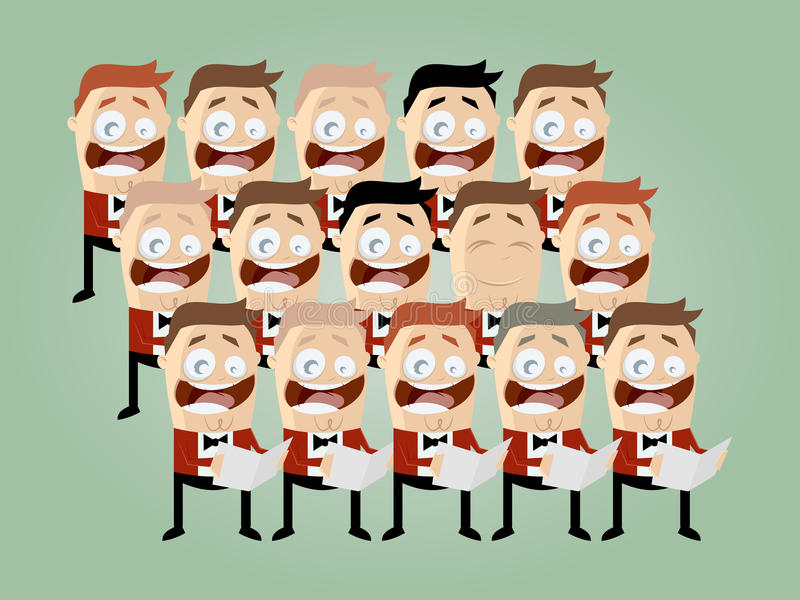 Funny cartoon choir vector illustration