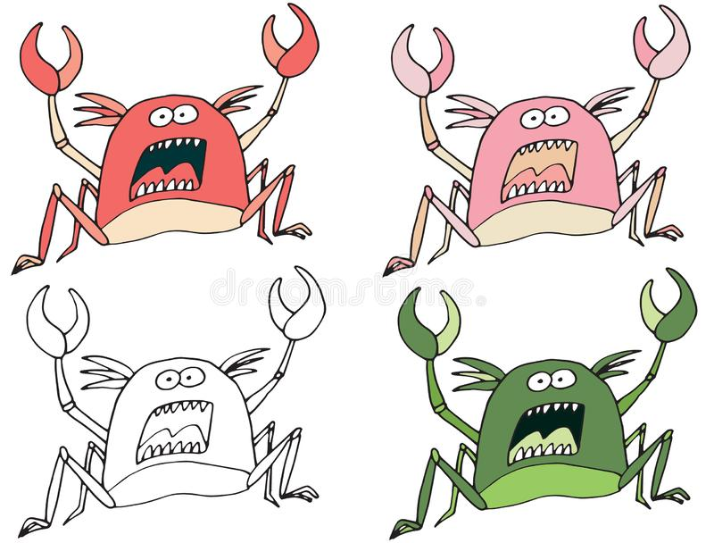 Funny cartoon colored write hand made draw doodle monster aliens crab. Funny cartoon colored write hand made draw doodle monsters aliens crab royalty free illustration