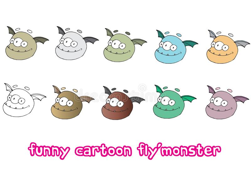 Funny cartoon colored write hand made draw doodle monster aliens fly. Funny cartoon colored write hand made draw doodle monsters aliens fly vector illustration